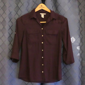 H&M Sheer Purple Button Up Blouse